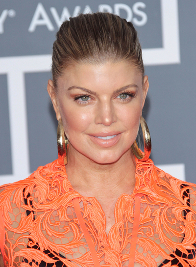 Fergie Chic, Sophisticated, Brunette Updo with Highlights