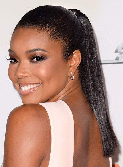 Gabrielle Union with a Long, Black, Chic, Ponytail Hairstyle Pictures