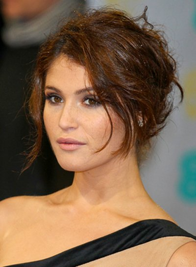 Gemma Arterton's Tousled, Edgy, Brunette, Updo Hairstyle