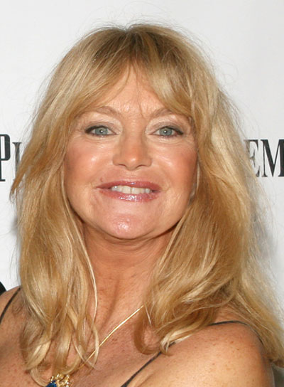Goldie Hawn Long, Straight, Sophisticated, Blonde Hairstyle with Bangs