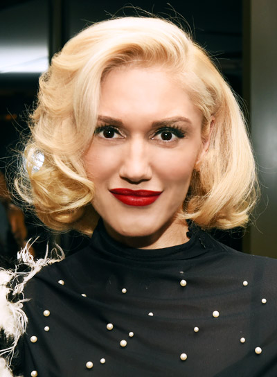 Gwen Stefani Medium, Blonde, Formal, Bob Hairstyle
