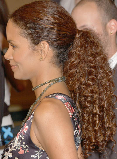 Halle Berry Curly Ponytail