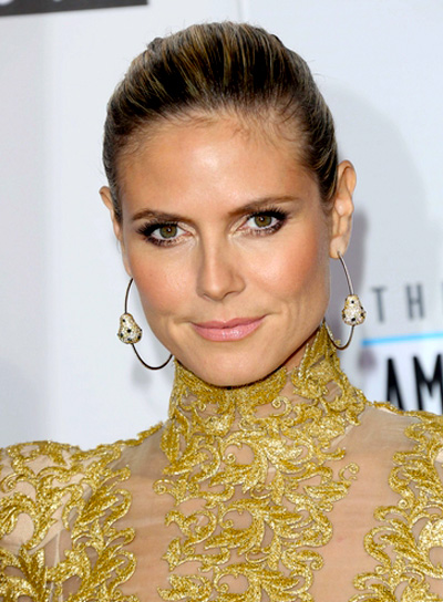 Heidi Klum's Chic, Sophisticated, Brunette, Updo Hairstyle