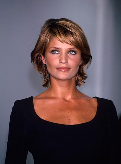 Helena Christensen Short, Chic, Brunette Shag with Bangs