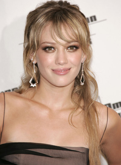 Hilary Duff Long, Wavy Half Updo with Bangs