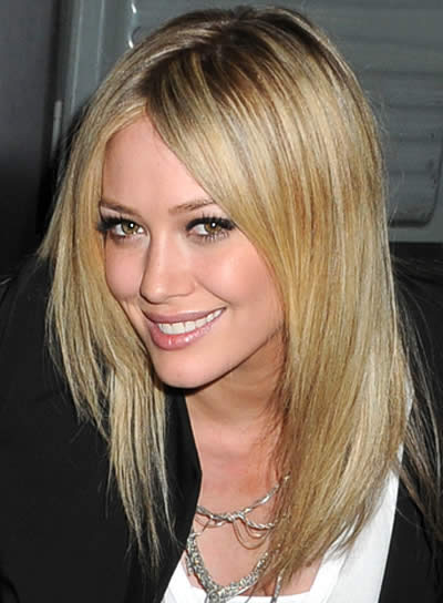 Hilary Duff Chic, Straight Hairstyle for Medium-Length Hair