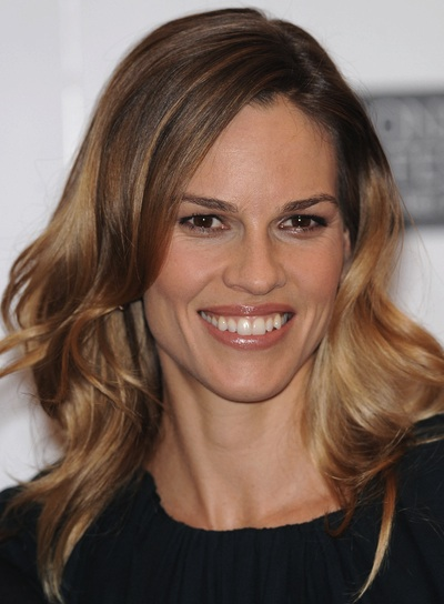 Hilary Swank Wavy, Romantic, Brunette Hairstyle
