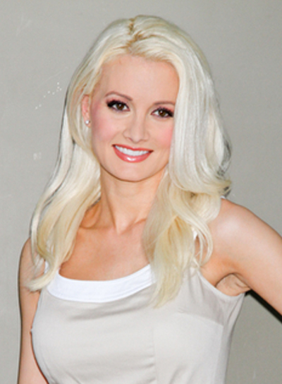 Holly Madison's Medium, Layered, Blonde, Party Hairstyle