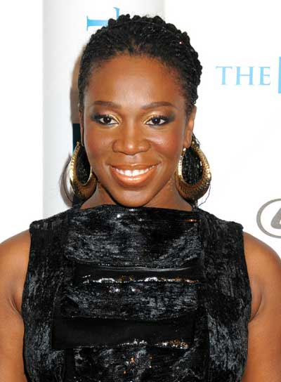 India Arie Chic, Edgy, Black Updo with Braids and Twists