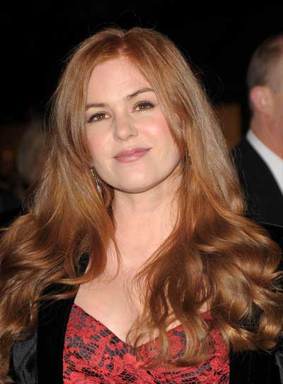 Isla Fisher Long, Romantic, Wavy, Red Hairstyle