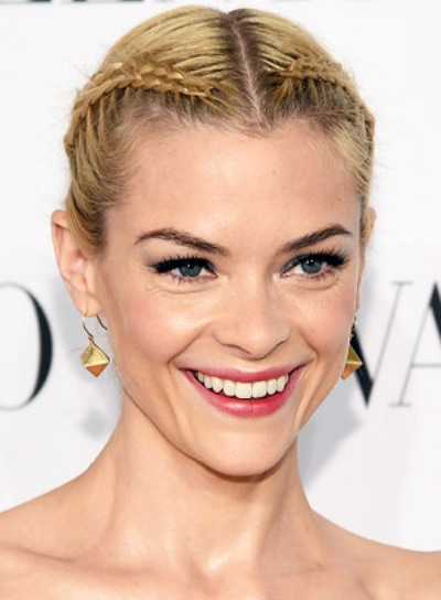 Jaime King with a Funky, Blonde, Updo Hairstyle with Braids and Twists Pictures
