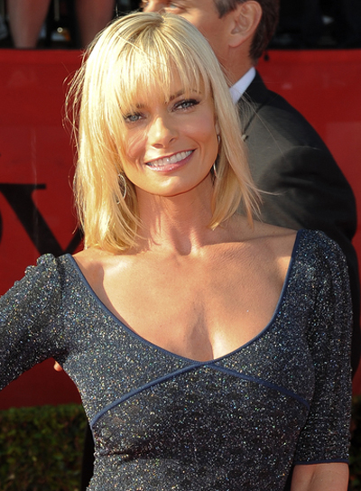 Jaime Pressly Medium, Straight, Blonde Hairstyle with Bangs