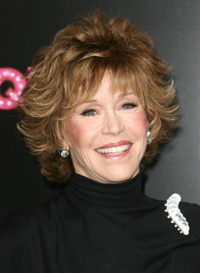 Jane Fonda Short, Tousled, Brunette Bob with Bangs and Highlights