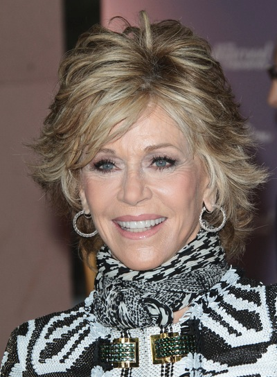 Jane Fonda Short, Layered, Sophisticated, Blonde Hairstyle with Highlights
