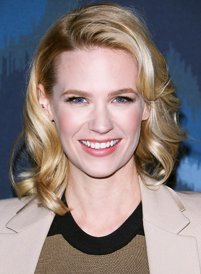 January Jones with a Short, Blonde, Curly, Romantic Hairstyle Pictures