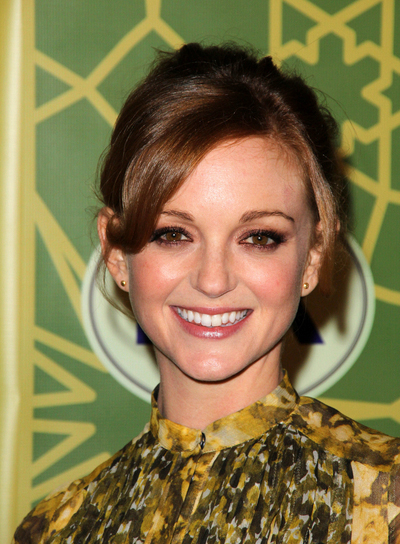 Jayma Mays Sophisticated, Chic, Romantic, Red Updo with Bangs