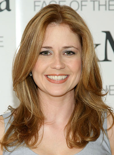 Jenna Fischer Medium, Romantic, Brunette Hairstyle with Highlights