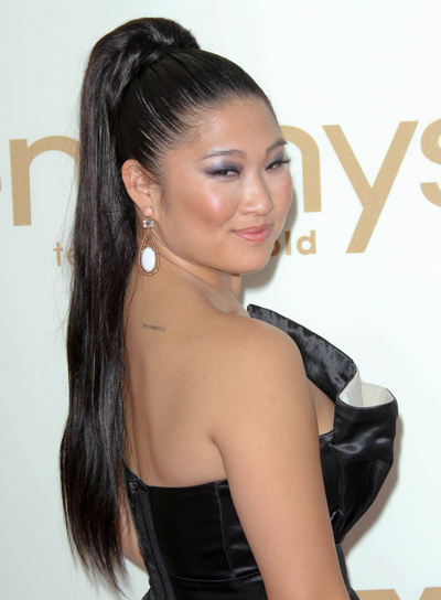 Jenna Ushkowitz Long, Sexy, Edgy, Black Ponytail