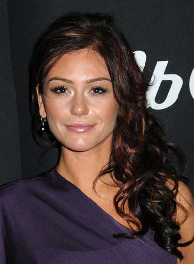 "Jenni ""Jwoww"" Farley Long, Curly, Sexy, Brunette Hairstyle with Highlights"