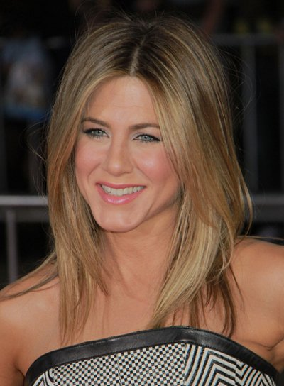 Jennifer Aniston Medium, Layered, Blonde Hairstyle with Highlights