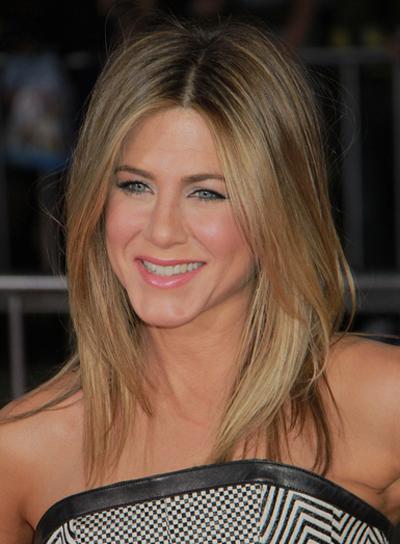Jennifer Aniston Medium, Layered, Blonde Hairstyle with Highlights