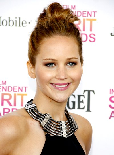 Jennifer Lawrence's Brunette, Chic, Party, Updo Hairstyle