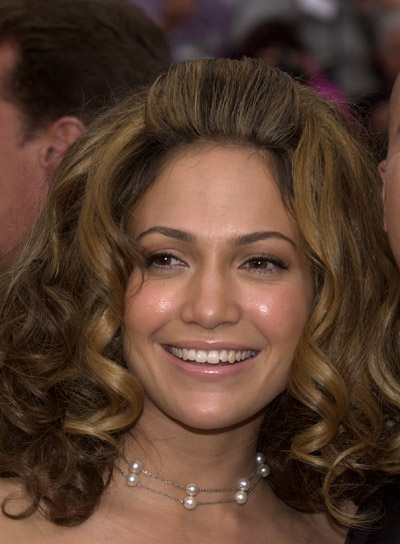 Jennifer Lopez Brunette, Romantic, Curly Hairstyle