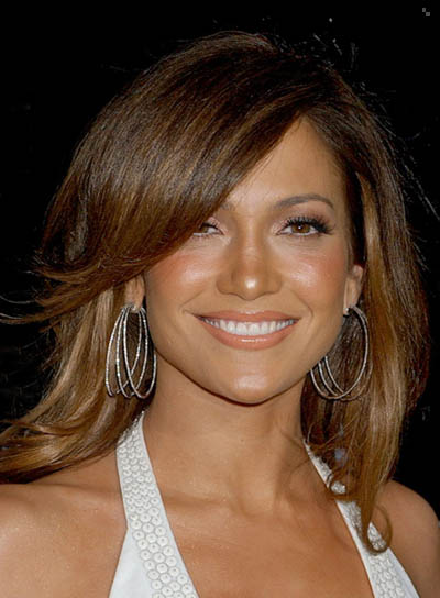 Jennifer Lopez Straight Hairstyle with Long, Sideswept Bangs