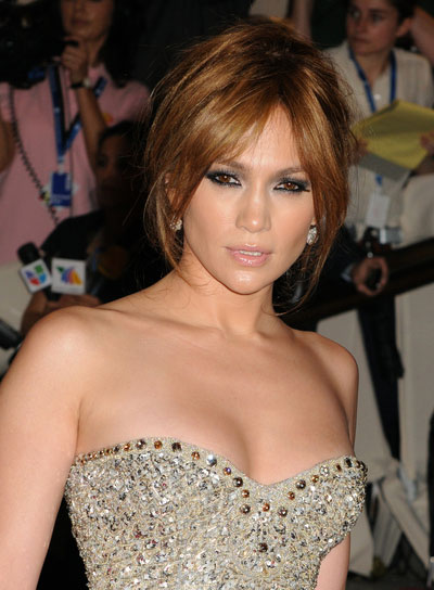 Jennifer Lopez Straight, Sophisticated, Brunette Updo with Bangs