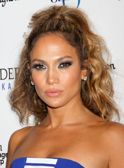 Jennifer Lopez's Wavy, Tousled, Half Updo, Party Hairstyle