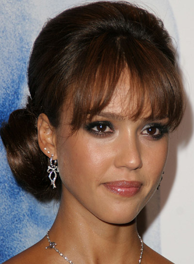 Jessica Alba Prom Updo with Bangs