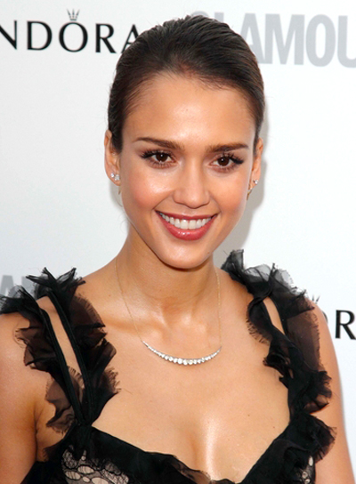 Jessica Alba's Chic, Brunette, Formal, Updo Hairstyle