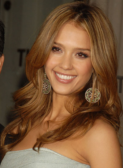 Jessica Alba Long, Layered Hairstyle with Highlights