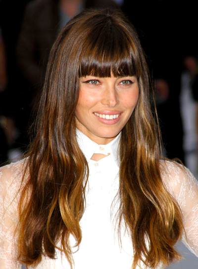 Jessica Biel's Long, Brunette, Wavy, Hairstyle with Bangs