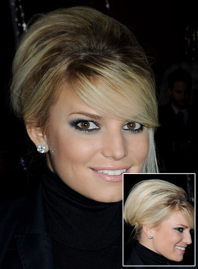 Jessica Simpson Sophisticated, Blonde Updo With Bangs