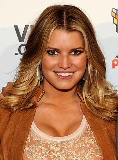 Jessica Simpson Medium, Curly Hairstyle with Highlights