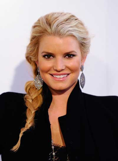 Jessica Simpson Thick, Chic, Blonde Hairstyle with Braids and Twists