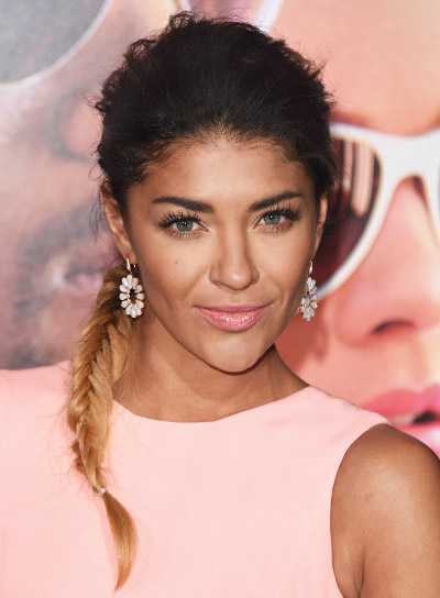 Jessica Szohr with a Brunette, Tousled, Funky Hairstyle with Braids and Twists