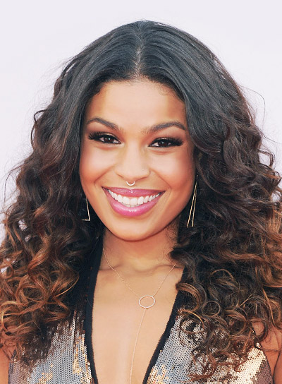 Jordin Sparks with a Long, Curly, Black Hairstyle with Highlights Pictures