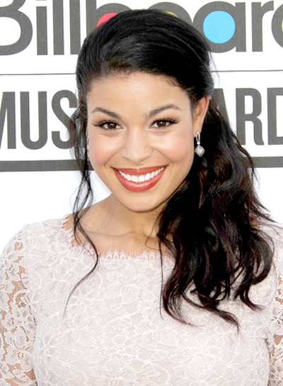Jordin Sparks' Romantic, Wavy, Black, Ponytail Hairstyle