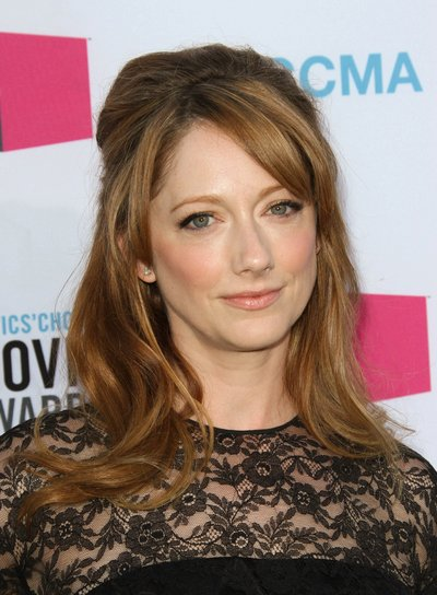 Judy Greer Long, Brunette, Romantic, Half Updo with Bangs