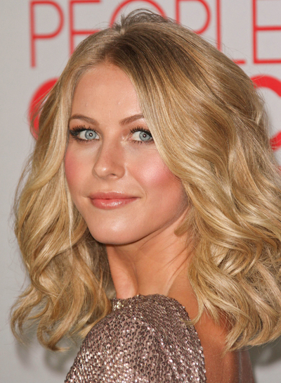 Julianne Hough Medium, Curly, Thick, Romantic, Blonde Hairstyle