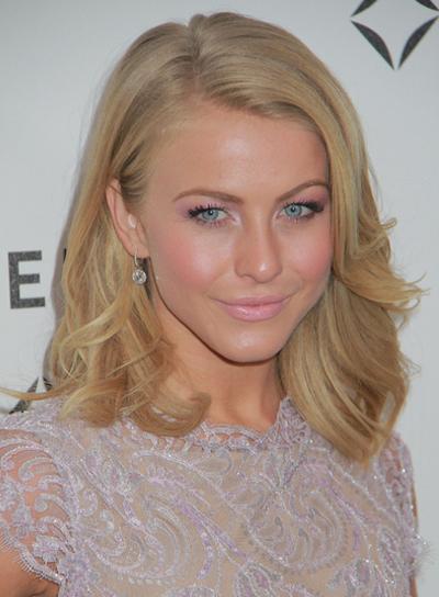 Julianne Hough Medium, Wavy, Romantic, Blonde Hairstyle
