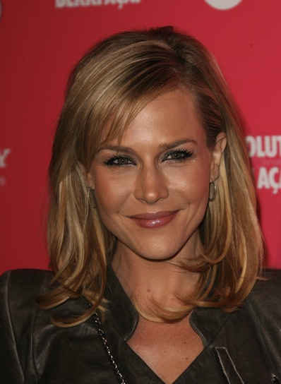 Julie Benz Medium, Straight, Blonde Hairstyle with Bangs