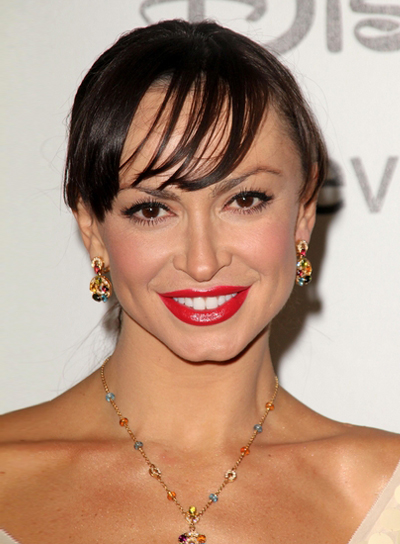 Karina Smirnoff's Chic, Brunette, Updo Hairstyle with Bangs