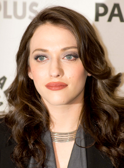 Kat Dennings' Brunette, Long, Wavy, Romantic Hairstyle
