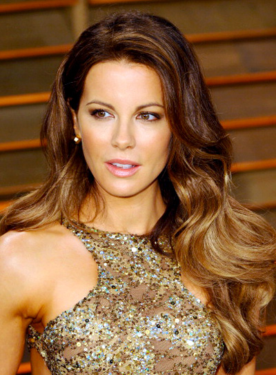Kate Beckinsale Brunette, Sexy, Wavy, Long Hairstyle