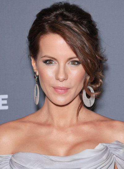 Kate Beckinsale Sexy, Brunette Updo with Bangs