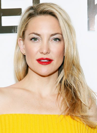 Kate Hudson Long, Layered, Blonde, Chic Hairstyle