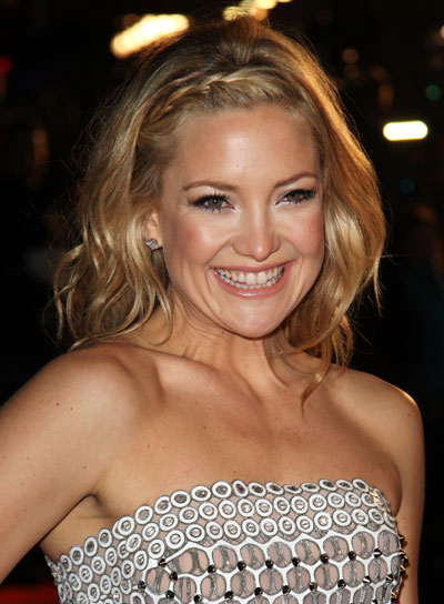 Kate Hudson Wavy, Tousled, Blonde Hairstyle with Braids and Twists